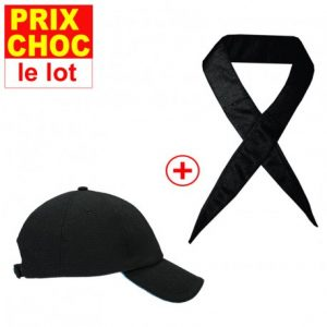 Lot casquette + foulard noirs